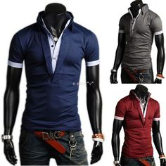 Mens Fashion Casual Slim Fit Polo Shirt T Shirts Tops Tee Shirt 3Color M XXL | eBay