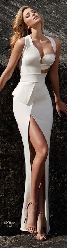 White maxi prom dress,long sexy evening dress,custom made dress,215
