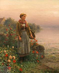 Maria, By the Seine by Daniel Ridgway Knight - 32 1/4 x 26 inches Signed and inscribed Paris paris salon french academic rolleboise women in gardens