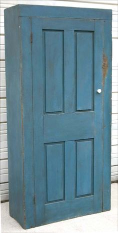 """a 1830 State of Maine pantry cupboard in old blue paint - 74 3/4"""" tall x 35 1/2"""" wide"""