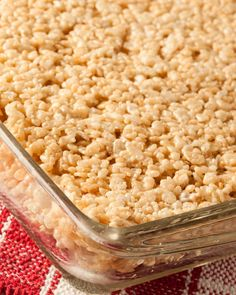 Peanut Butter Rice Krispies Treats // Going to try adding chocolate morsels for a Reese's effect...