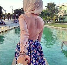 blush pink blouse hijab chic