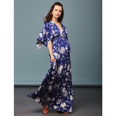 Rachel Pally Caftan Maternity Maxi Dress- Peony Print A Pea in the Pod... ($255) ❤ liked on Polyvore featuring maternity