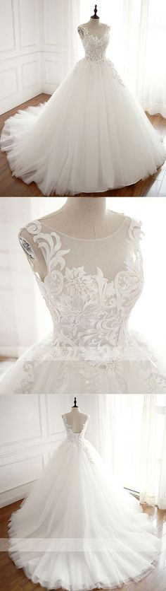 White round neck tulle lace applique long wedding dress, white evening dress