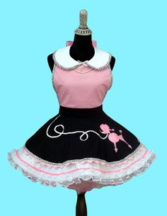 Womens Apron - Womens Retro Poodle Skirt Costume Apron, 50s Rockabilly Sock Hop Party Costumes Aprons MADE TO ORDER on Etsy, $58.95