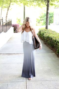 Play with proportions with a hi-lo hem top and fitted maxi.