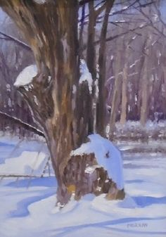 Gone But Not Forgotten:  oil painting, large tree, snow, winter landscape, snow shadows.