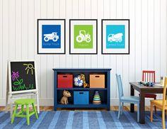Construction Truck Prints, Dump Truck Wall Art, Boys Room Wall Art, Construction Decor, Childrens Room or Playroom Wall Art, Set of 3 Prints