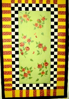 Roses and Checks FLOORCLOTH / Hand Painted Canvas Rug / Polka Dots / Black and White Checked / Roses / Pale Green / Red and Yellow / 3 x 5. $100.00, via Etsy.