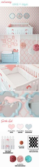 "coral-and-aqua-nursery by hollanddina, via Flickr  sherwin williams ""interesting aqua"" , love this color!!"