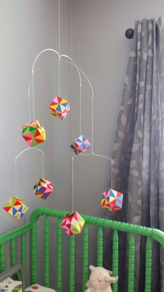 Multicolored origami mobile by MobileMe on Etsy Origami Cube, Origami Mobile, Origami Paper Art, 3d Origami, Origami Ideas, Crafts To Do, Paper Crafts, Diy Crafts, Baby Nook