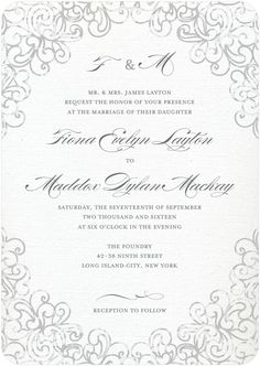 Dazzling Lace - Signature White Wedding Invitations in Gunmetal or Baroque | Sarah Hawkins Designs