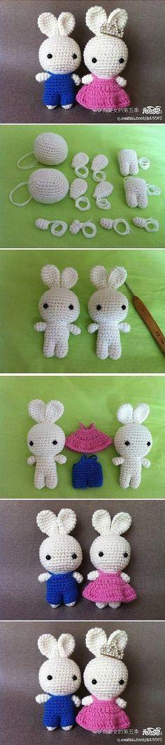 Casal de Coelhos em Crochet //  DIY Cute Crochet Bunny Couple
