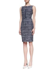 Sleeveless Tweed Sheath Dress, Navy/White by David Meister at Neiman Marcus. Perfect for work.