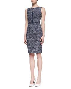 Sleeveless Tweed Sheath Dress, Navy/White by David Meister at Neiman Marcus.