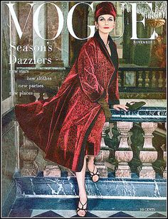 Anne St. Marie in Dior's ruby velvet evening coat, photo by Henry Clarke, Vogue USA, Nov. 1955