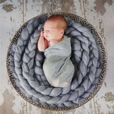 Newborn Photography Props Baby Photo Blanket 12 Colors 4M Long Basket Acrylic atrezzo fotos bebe