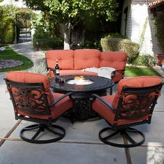patio table with fire pit in center design