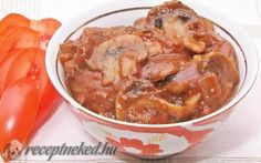Paradicsomos gombasaláta / Svéd gomba recept fotóval Thai Red Curry, Shrimp, Meat, Ethnic Recipes, Fitness, Finger Food