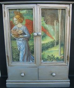 I love the idea of decoupaging some furniture...maybe the middle panels of my kitchen cabinets?   decoupage by swamp dragon, via Flickr