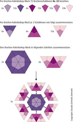English Paper Piecing Anleitung Drachen-Kaleidoskop Tutorial  Kite Kaleidoscope