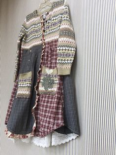 Upcycled Sweater Jacket Long Sweater Coat Shabby Prarie Chic