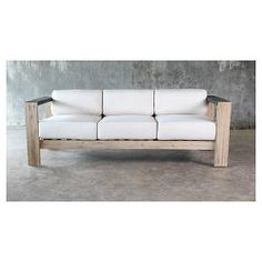 Smith U0026 Hawken Montpelier Wood Patio Sofa With Sunbrella Fabric