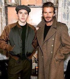 Brooklyn Beckham and David Beckham looking quite dapper at London Fashion Week Mens.