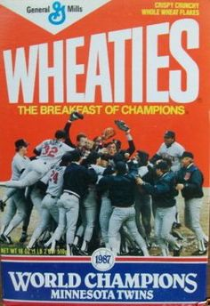 Our Minnesota Twins win the 1987 World Series and got the Wheaties Box! Local company (General Mills) supporting their local team. I have several of these and the original Homer Hankie's. Feeling Minnesota, Minnesota Home, Duluth Minnesota, Minnesota Twins Baseball, Twin Cities, Thing 1, World Series, Minneapolis, Have Time
