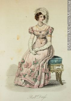 Print - Fashion Plate Ball Dress (from Lady's Magazine) August 1824, 19th century Hand-coloured etching on paper 21.3 x 13.4 cm