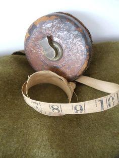 Antique Tape Measure  Leather Case  Cloth by UrbanRenewalDesigns, $13.99