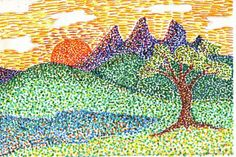 here is my pointillism example for second gradehave a great weekend everyonep