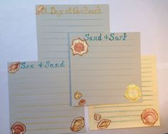 A Day at the Beach: Set of Scrapbook Style Stationery on Etsy, $3.50