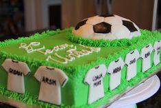 Serene's Kitchen: Soccer cake – birthdaycakeideas Soccer Cupcakes, Soccer Birthday Cakes, Soccer Cake, Football Birthday, Soccer Party, Bithday Cake, Sport Cakes, Cake Craft, Grilling Gifts