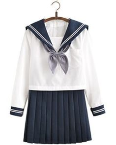 Japanese School Uniform Adult Women Halloween Sailor Cosplay Costume Outfit Long Sleeve       Product Main points:  SHIRT: Long sleeves shirt pullover V collar lapel pocket.SKIRT: Pleated design with facet zipper closureit is simple to position off and on.TIE: Its detachable if you do not want the bow at the shirt You might want to dispose of it.OCCASION: You might want to wear it on any cosplay celebration and as elegance serviceeven day-to-day wear.  Any wisheswelcome to ACE SHOCK Cosplay…