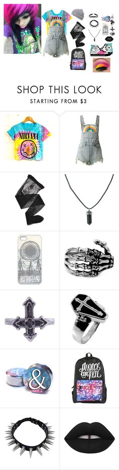 """Feeling This~ Blink 182"" by headbangingunicorn ❤ liked on Polyvore featuring UNIF, Emporio Armani, Metal Couture, Pamela Love, Lime Crime and Converse"