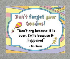 Dr. Seuss Oh The Places You'll Go Party Goodie Bag Sign Gift Bag Sign Printable…