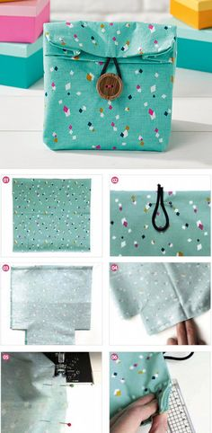 Fabric Gift Bags Instructions DIY step-by-step tutorial  http://www.free-tutorial.net/2016/12/speedy-stitch-gift-bag.html