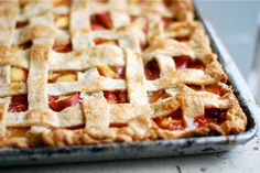 peach slab pie // this is a flash back to my Meme, forgot she made cherry apple pies like this. WOW ;)
