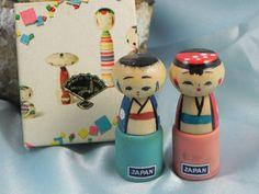 Vintage Kokeshi Dolls in Original Box