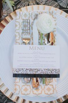 menu and silverware