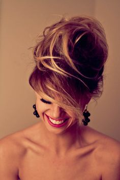 Updo / easy / messy / side part / bangs / lashes / fuschia lip color / lipstick / brunette / brown / blonde / highlights / balayage / hair color