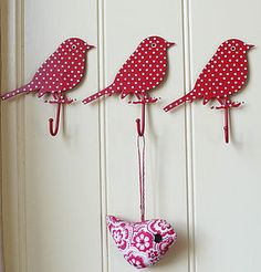 Red & Blue Spotty Bird Hooks - interior accessories