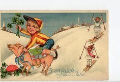Vintage Pig Jockey Postcard    New Year by sharonfostervintage, $7.50