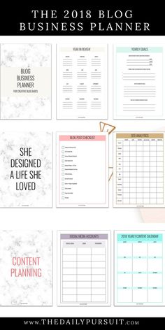 The 2018 Blog Business Planner by The Daily Pursuit.