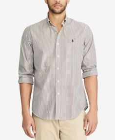 Polo Ralph Lauren Men's Classic Fit Checked Poplin Shirt - Cafe/White XXL