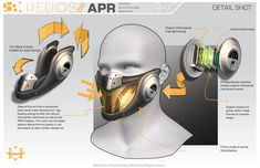 Product Design Beauty Shot Helios Respirator by browniedjhs - Wearable Devices Breathing Mask, Industrial Design Sketch, Wearable Device, Futuristic Design, Photosynthesis, Beauty Shots, Mask Design, Design Process, Science And Technology