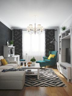 rideaux salon graphite à motifs blancs, assortis au tapis et fauteuil avec repose-pieds en vert