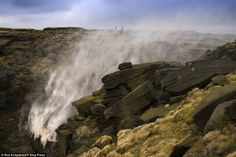 Winds of up to 65mph blew the 30ft Kinder Downfall waterfall backwards at Kinder Plateau near Hayfield at Derbyshire Peak District