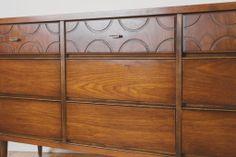 Vintage Mid Century Walnut Bassett Highboy Dresser / MCM / Storage / Credenza / Sideboard / Buffet